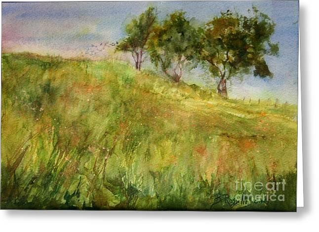 Roxbury Greeting Cards - Grassy Fields Toplands Farm Roxbury CT Greeting Card by B Rossitto