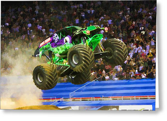 American Automobiles Paintings Greeting Cards - Grave Digger 7 Greeting Card by Lanjee Chee