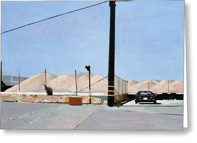 Contemporary Art Paintings Greeting Cards - Gravel Piles Downtown LA Greeting Card by Peter Wilson