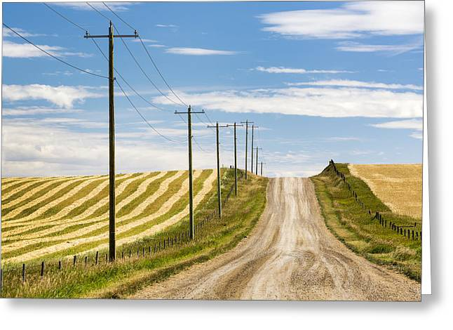 Gravel Road Climbing A Hill With Wooden Greeting Card by Michael Interisano