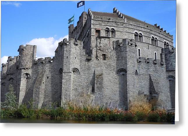 Flag Stones Greeting Cards - Gravensteen Castle Gent Belgium Greeting Card by Marilyn Dunlap