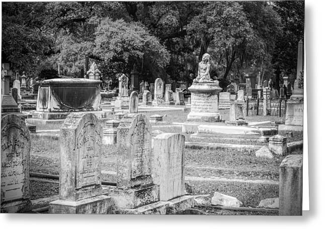 Eerie Greeting Cards - Graves At Magnolia Cemetery Charleston SC black and white Greeting Card by Melissa Bittinger