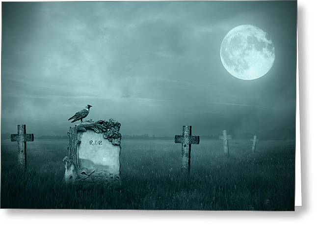 Creepy Digital Art Greeting Cards - Gravestones in moonlight Greeting Card by Jaroslaw Grudzinski