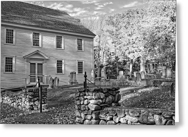 Old Churches Greeting Cards - Graveyard Old Country Church Black and White Photo Greeting Card by Keith Webber Jr