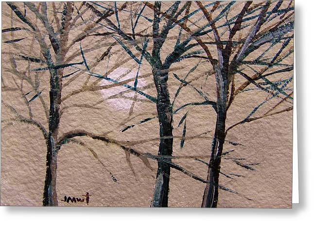 Subtle Colors Drawings Greeting Cards - Gray and Dark Trees Greeting Card by John  Williams