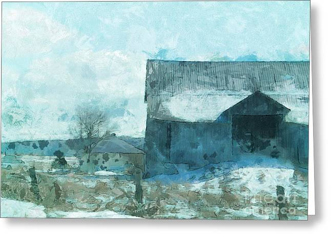 Cbull Greeting Cards - Gray Barn Greeting Card by Claire Bull