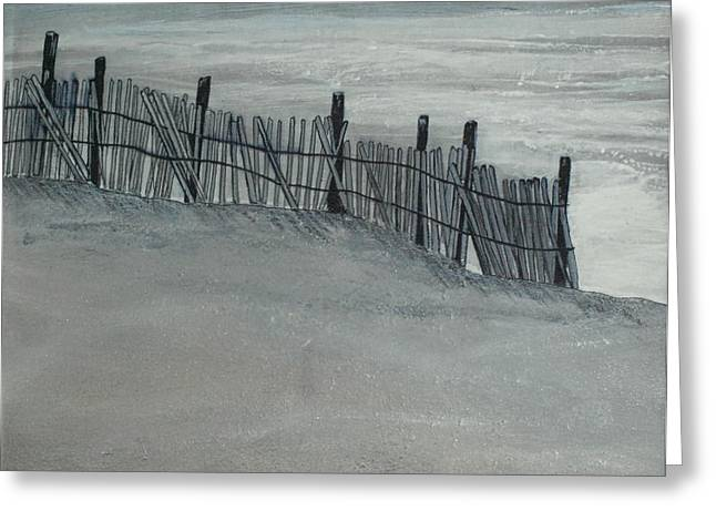 Ocean Shore Mixed Media Greeting Cards - Gray Day Greeting Card by Jeffrey Engle