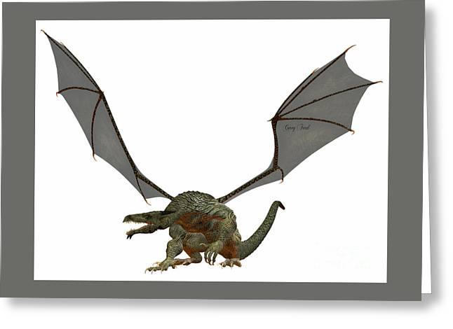 Fantasy Creatures Greeting Cards - Gray Dragon Greeting Card by Corey Ford
