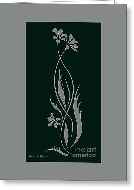 Flower Design Greeting Cards - Gray Floral Design On Black Greeting Card by Sharon K Shubert