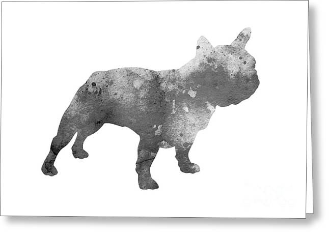 Gray French Bulldog Minimalist Painting Greeting Card by Joanna Szmerdt