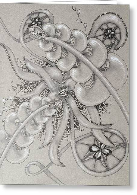 Recently Sold -  - White Drawings Greeting Cards - Gray Garden Explosion Greeting Card by The Sandwich  Woman