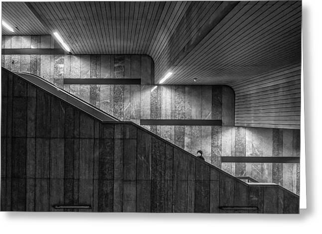 Staircase Greeting Cards - Gray On Gray Greeting Card by Klaus Lenzen