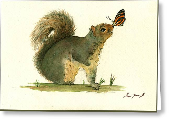 Gray Squirrel Butterfly Greeting Card by Juan Bosco