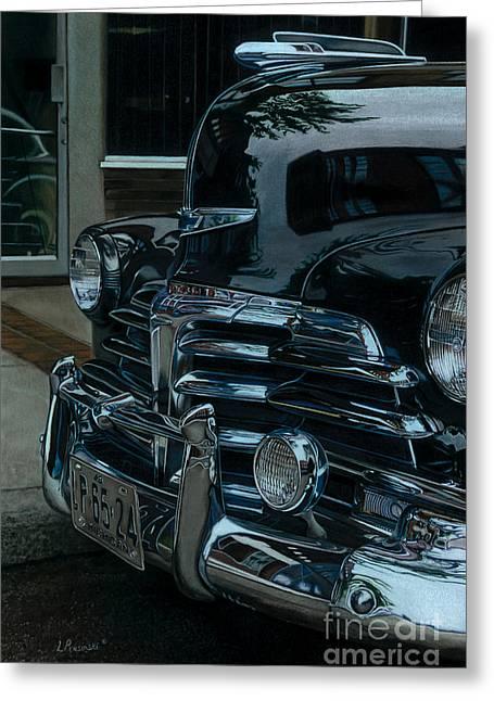 American Automobiles Paintings Greeting Cards - Gray Sunday Greeting Card by Lisa Prusinski