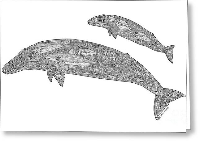 Gray Whale And Calf Greeting Card by Carol Lynne