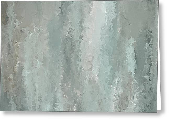 Blue And Green Greeting Cards - Grayish Blue Abstract Art Greeting Card by Lourry Legarde