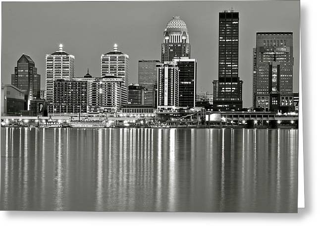 Southern Indiana Greeting Cards - Grayscale Louisville Lights Greeting Card by Frozen in Time Fine Art Photography