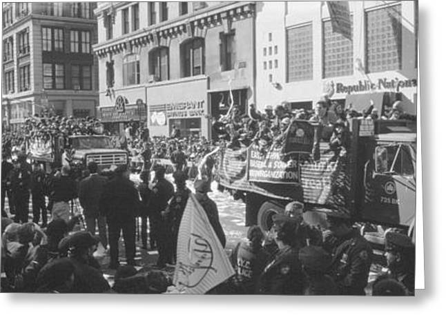 World Series Greeting Cards - Grayscale Parade For 1998 World Series Greeting Card by Panoramic Images