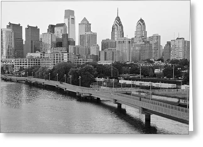 Grayscale Philly Skyline Greeting Card by Frozen in Time Fine Art Photography