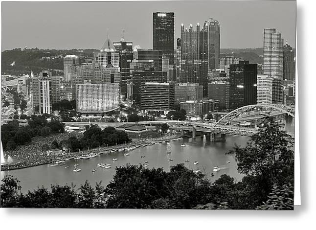 Grayscale Pittsburgh Greeting Card by Frozen in Time Fine Art Photography