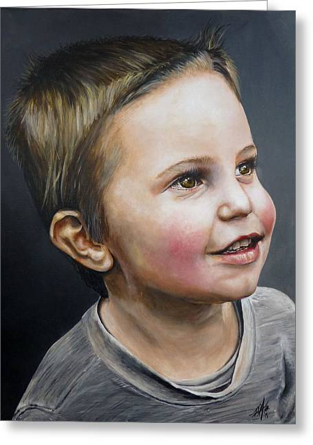 Cleft Chin Greeting Cards - Grayson Greeting Card by Michelle Iglesias