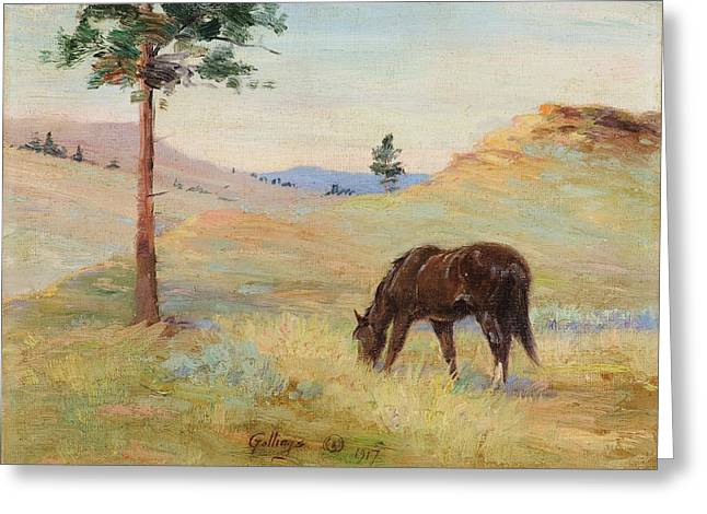 1878 (oil On Canvas) Greeting Cards - Grazing  Greeting Card by Celestial Images