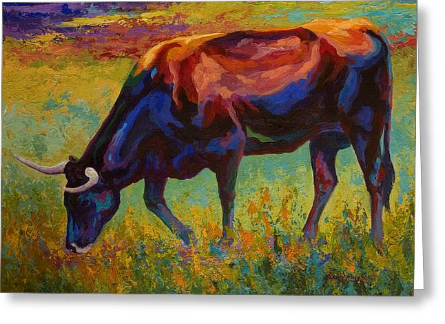 Grazing Texas Longhorn Greeting Card by Marion Rose