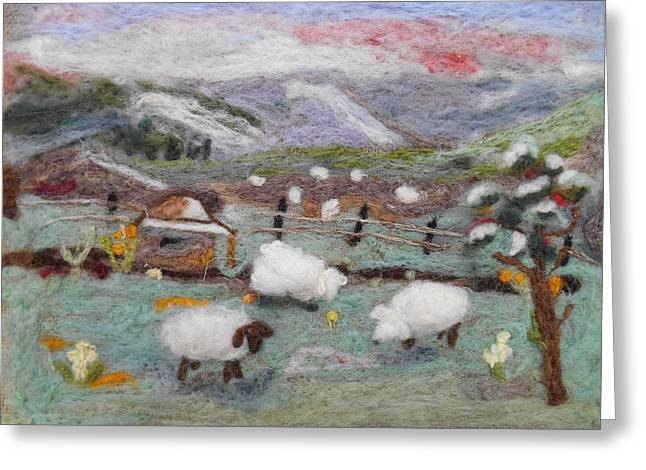 Wool Tapestries - Textiles Greeting Cards - Grazing Woolies Greeting Card by Christine Lathrop