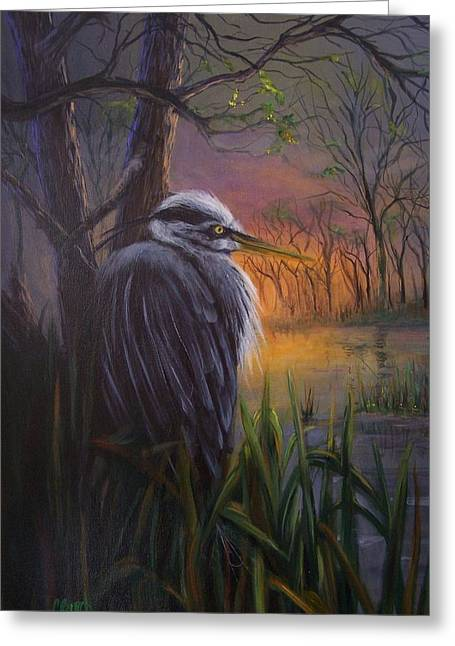 Blue Herron Paintings Greeting Cards - Great Blue at Sunset Greeting Card by Colleen Birch