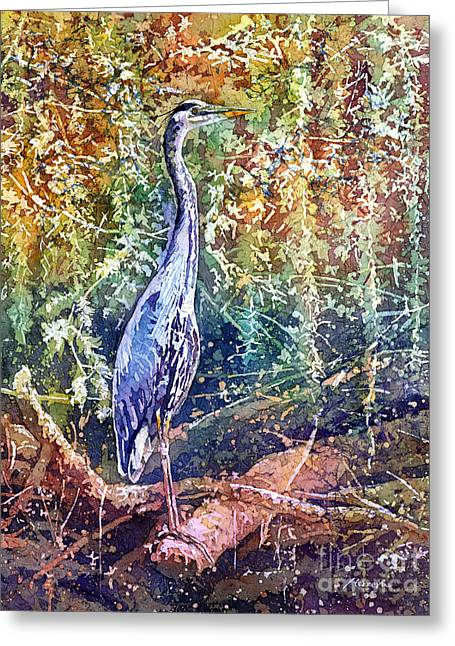 Wading Bird Greeting Cards - Great Blue Heron Greeting Card by Hailey E Herrera