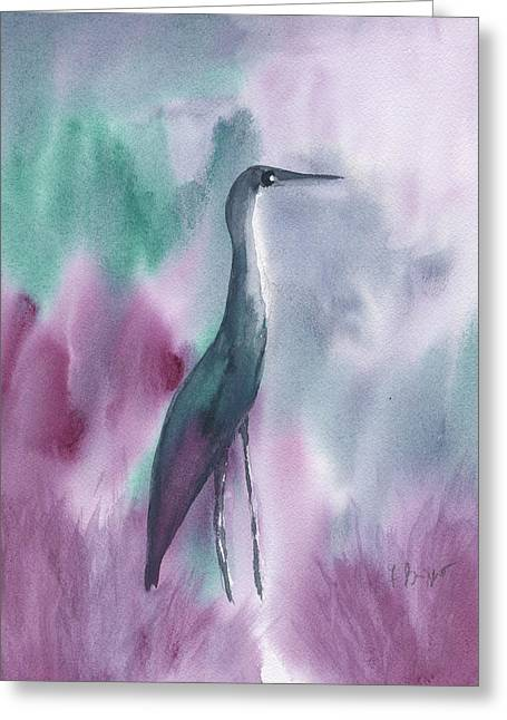Frank Ocean Art Greeting Cards - Great Blue Heron In Green Abstract Greeting Card by Frank Bright