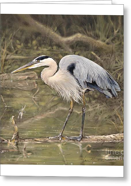 Water Fowl Greeting Cards - Great Blue Heron Greeting Card by Laurie Musser