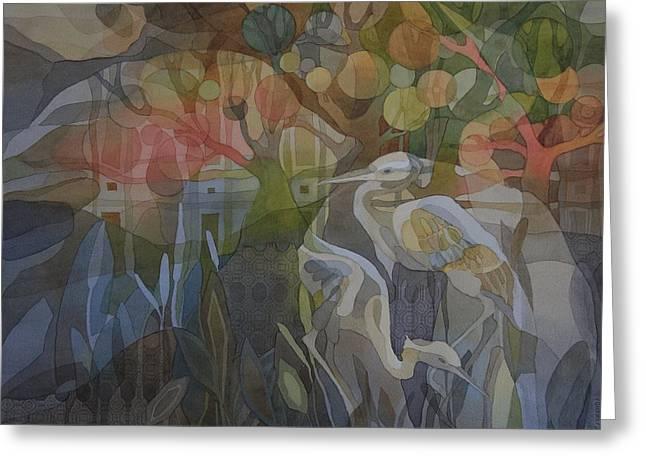 Green Abstract Greeting Cards - Great Blue Heron Song Greeting Card by Ezartesa Art