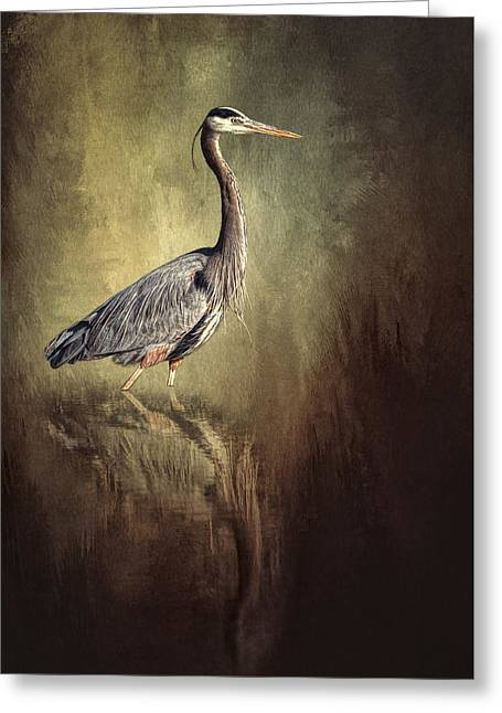 Wildlife Refuge. Digital Art Greeting Cards - Great Blue Heron With Reflection Greeting Card by Sharon Norman