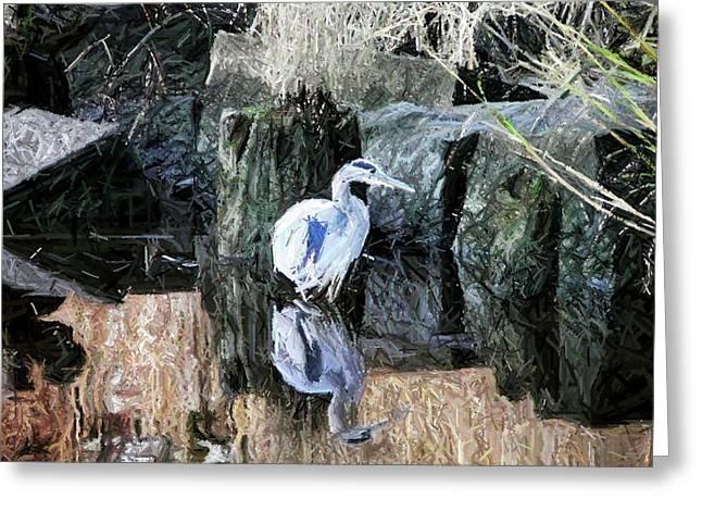 Great Blue Heron Digital Art Greeting Cards - Great Blue Reflection - Digital Art Greeting Card by Al Powell Photography USA
