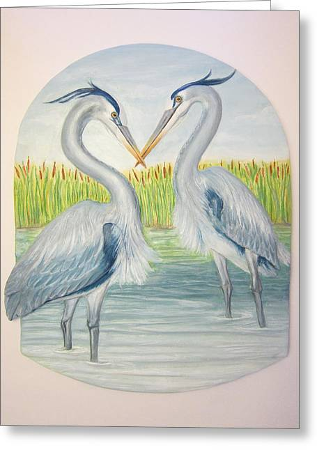 River Ceramics Greeting Cards - Great Blues-SOLD Greeting Card by Janet Knocke