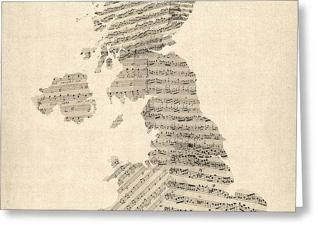 Great Britain UK Old Sheet Music Map Greeting Card by Michael Tompsett