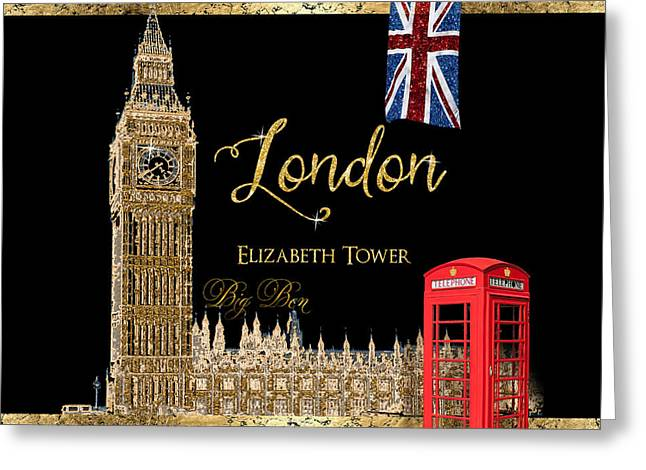 Home Decor Posters Mixed Media Greeting Cards - Great Cities London - Big Ben British Phone booth Greeting Card by Audrey Jeanne Roberts
