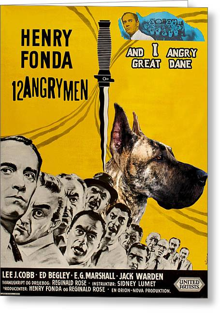 Great Dane Portrait Prints Greeting Cards - Great Dane Art Canvas Print - 12 Angry Men Movie Poster Greeting Card by Sandra Sij