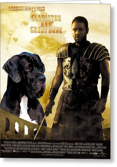 Great Dane Portrait Prints Greeting Cards - Great Dane Art Canvas Print - Gladiator Movie Poster Greeting Card by Sandra Sij