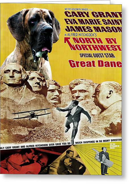 Great Dane Art Canvas Print - North By Northwest Movie Poster Greeting Card by Sandra Sij