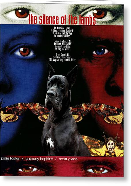 Great Dane Portrait Prints Greeting Cards - Great Dane Art Canvas Print - The Silence of the Lambs Movie Poster Greeting Card by Sandra Sij