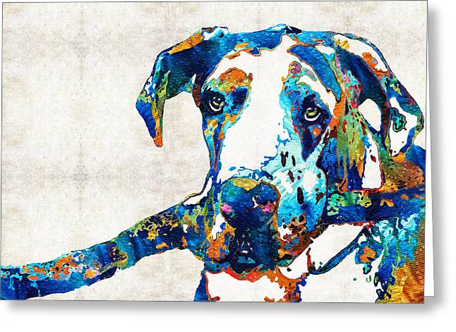 Rescued Animals Greeting Cards - Great Dane Art - Stick With Me - By Sharon Cummings Greeting Card by Sharon Cummings