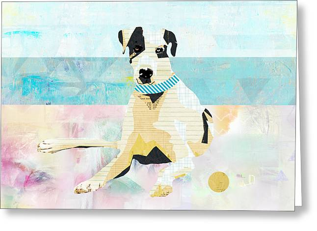 Great Dane At The Beach Greeting Card by Claudia Schoen