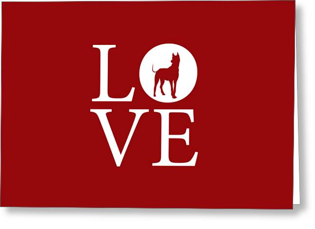 Great Dane Love Red Greeting Card by Nancy Ingersoll