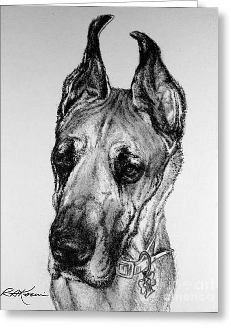 Great Dane Greeting Card by Roy Anthony Kaelin