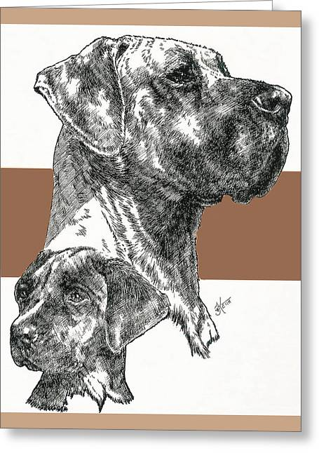 Working Dog Mixed Media Greeting Cards - Great Dane Uncropped Greeting Card by Barbara Keith