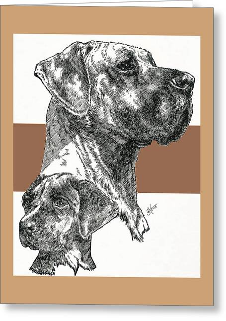 Working Dog Greeting Cards - Great Dane Uncropped Greeting Card by Barbara Keith