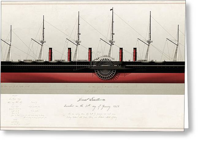 Historic Ship Digital Greeting Cards - Great Eastern Greeting Card by J Fagence