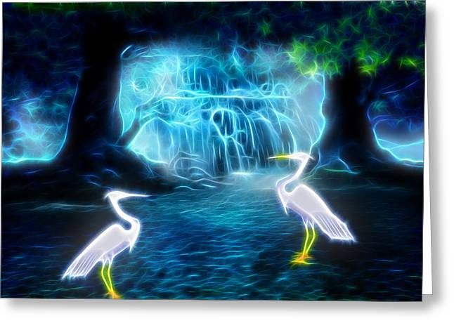 White River Scene Mixed Media Greeting Cards - Great Egret Falls Greeting Card by Sharon and Renee Lozen